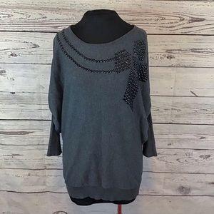 Gianni Bini dark grey studded sweater